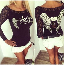 Angel Wings Print Women Long Sleeve Sexy Lace Crochet Hollow Out T Shirt