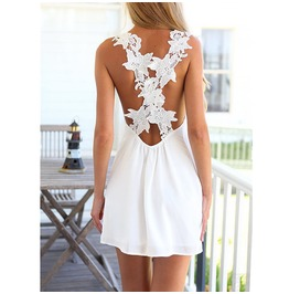 Chiffon Women V Neck Lace Crochet Backless Sexy Short Mini Dress