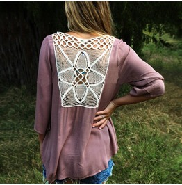 Blouses 3/4 Sleeve Loose V Neck Lace Up Backless Hollow Out T Shirts