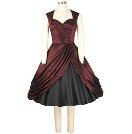 Burgundy Satin Formal Party Swing Rockabilly 50s Dress $9 To Ship Worldwide
