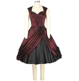 Burgundy Satin Formal Party Swing Rockabilly 50s Dress $9 To Ship Worldwide