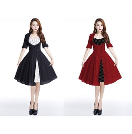 Red Black Dot Party Rockabilly Swing 50s Dress Reg & Plus Sizes $9 To Ship