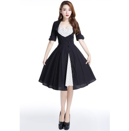 Black And White Polka Dot Rockabilly Swing Dress Free Shipping