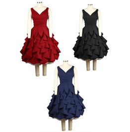 Red Black Blue Ruffle Party Prom Swing Dress Reg & Plus Sizes Free To Ship