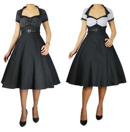 Black White Dot Short Sleeve 50s Teacher Dress Reg & Plus Sizes $9 To Ship