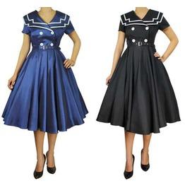 Black Navy Blue Sailor Style Dress Short Sleeve Reg & Plus Sizes $9 To Ship