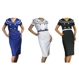 Womens Sailor Dress Pencil Black Blue White Reg & Plus Sizes Free To Ship