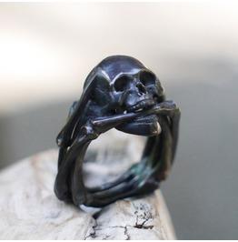 Spooky Blackened Silver Men's Skull Ring «Ghost Rider». Gothic, Biker