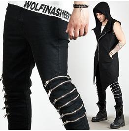 Striking Multiple Zipper Accent Black Slim Pants 114