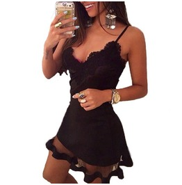 V Neck Sleeveless Spaghetti Strap Dresses Lace Mini Solid Dress