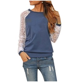 Shirt Lace Floral Patchwork Long Sleeve Blouse Lady T Shirt