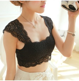 Lace Floral Crochet Built In Pad Crop Soft Vest Sleeveless Tank