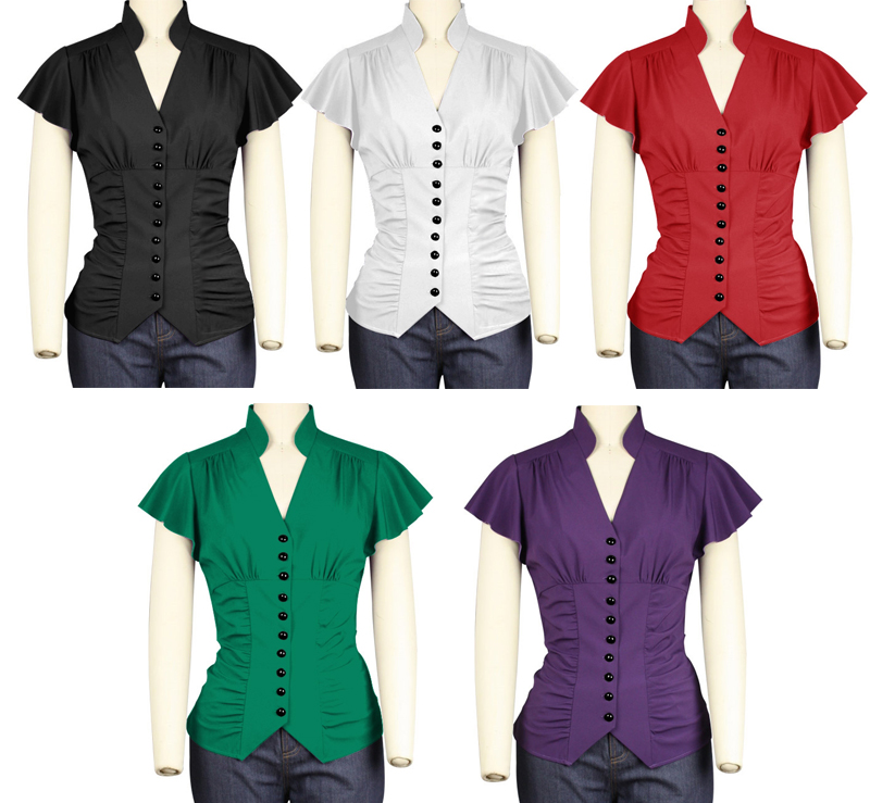 button_up_ladies_blouse_sash_bow_pin_up_top_reg_and_plus_sizes_9_to_ship_standard_tops_6.jpg