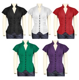 Button Up Ladies Blouse Sash Bow Pin Up Top Reg & Plus Sizes Free To Ship