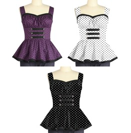 Polkadot Ladies Rockabilly Pin Up Top Reg & Plus Sizes $9 To Ship