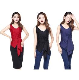Black White Blue Sleeveless Blouse Bow Belt Top Reg & Plus Sizes $9 To Ship