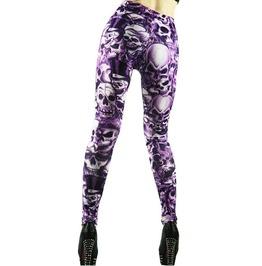 Purple Lots Of Skulls Leggings Design 8