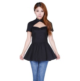 Black Chinese Collar Skirted Gothic Pin Up Top Reg & Plus Sizes $9 To Ship