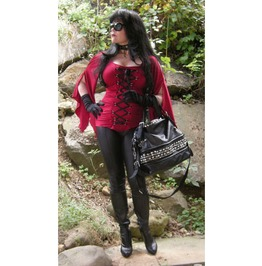 Black Red Gothic Bell Sleeved Corset Ribbon Top Reg & Plus Sizes $9 To Ship