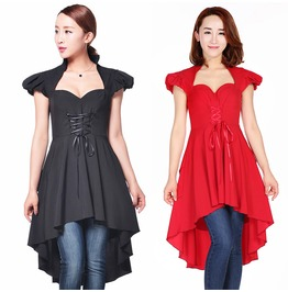 Black Red Gothic Ruffled Skirted Top Tunic Dress Reg& Plus Sizes $9 To Ship