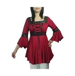 Black Red Gothic Medieval Bell Sleeved Tunic Top Reg& Plus Sizes $9 To Ship