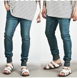 Banded Hem Accent Blue Denim Slim Jeans 209
