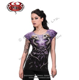 Spiral Womans T Shirt Flaming Spine Cap Sleeve Skulls