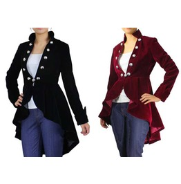 Black Burgundy Velvet Victorian Gothic Jacket Reg& Plus Sizes