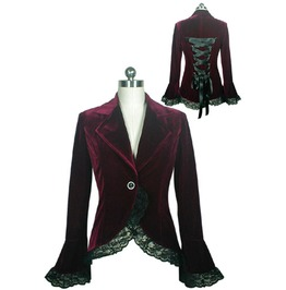 Black Or Burgundy Velvet Lace Trim Gothic Jacket Reg& Plus Sizes $9 To Ship