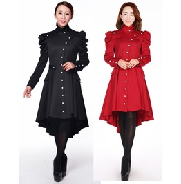 Ladies Black Or Red Victorian Gothic Trench Coat Reg& Plus Sizes $9 To Ship