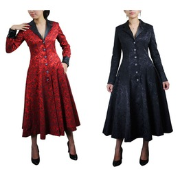 Black Red Gothic Over Coat Victorian Long Jacket Reg& Plus Size