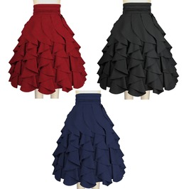 Black Red Blue Pin Up Rockabilly Ruffle Skirt Reg & Plus Sizes Free To Ship