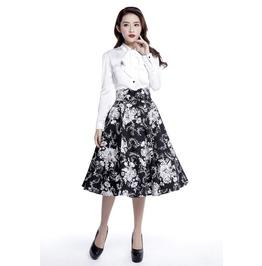 Black White 50s Retro Rockabilly Swing Skirt Reg & Plus Sizes $9 To Ship