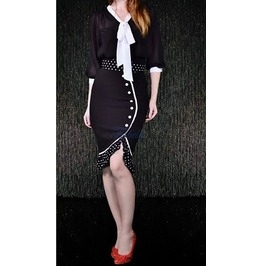 Black White 50s Retro Pin Up Wiggle Pencil Skirt Reg& Plus Sizes $9 To Ship