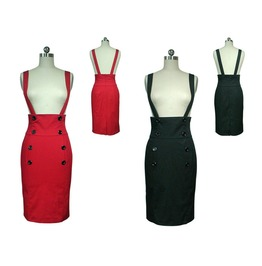 Black Or Red High Waisted Suspender Pencil Skirt Reg& Plus Sizes $9 To Ship