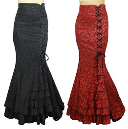 Black Or Red Jacquard Victorian Fishtail Skirt Reg& Plus Sizes $9 To Ship