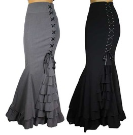 Black Or Gray Long Mermaid Fishtail Lacing Skirt Reg Plus Size
