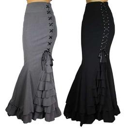 Black Or Gray Long Mermaid Fishtail Lacing Skirt Reg& Plus Sizes $9 To Ship