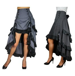 Black Or Gray Pinstripe Victorian Steampunk Ruffle Skirt Reg& Plus Sizes