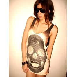Diamond Skull Goth Punk Pop Art Rock Tank Top T Shirt M