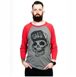 Toxico Clothing Red Grey Suicidal Baseball Shirt