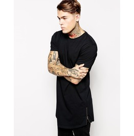 Men's Black/White Short Sleeve Long T Shirt