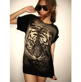 Tiger Animal Wave Punk Rock Wolf T Shirt M