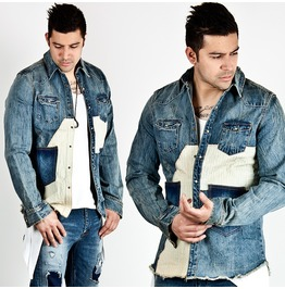Contrast Accent Distressed Blue Denim Jacket 199
