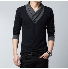 Men's Black/Gray Long Sleeve V Neck T Shirt