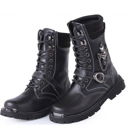 Men's Punk Faux Leather Black Boots