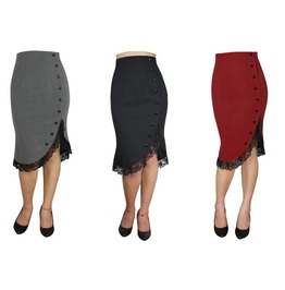 Black Red Gray Pin Up Rockabilly Pencil Skirt Reg & Plus Sizes