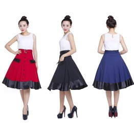 50s Pin Up Rockabilly Swing Skirt With Pockets Reg Plus Sizes