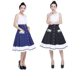 Blue Or Black 50s Sailor Swing Skirt Pockets Reg & Plus Sizes $9 To Ship