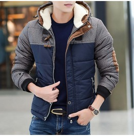 Men's Patchwork Contract Color Warm Hooded Winter Coat